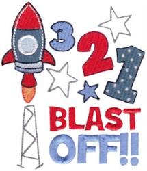 321 Blast Off embroidery design