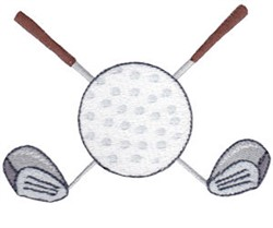 Golf Ball & Clubs embroidery design