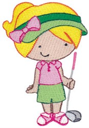 Young Girl Golfer embroidery design