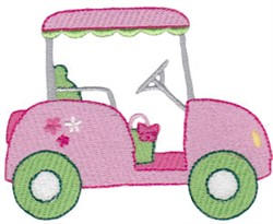Pink Golf Cart embroidery design
