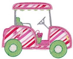Pink Applique Golf Cart embroidery design