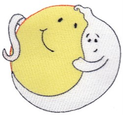 Happy Ghost & Moon embroidery design