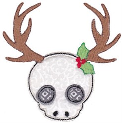 Christmas Reindeer Skull Applique embroidery design