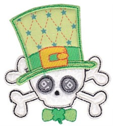St. Patricks Skull Applique embroidery design