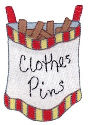 Laundry Day Clothes Pins embroidery design