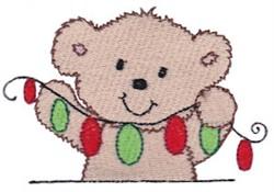 Teddy Bear & Christmas Lights embroidery design