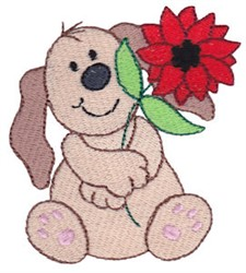 Christmas Puppy & Poinsettia embroidery design