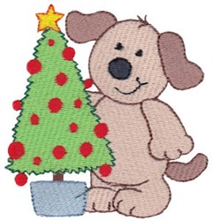 Christmas Puppy & Tree embroidery design