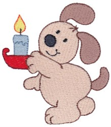 Christmas Puppy & Candle embroidery design