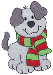 Christmas Puppy & Scarf embroidery design