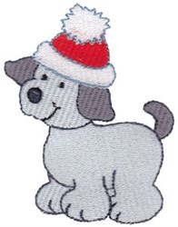 Christmas Puppy & Santa Hat embroidery design