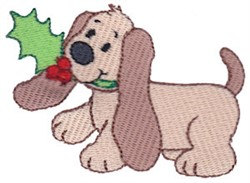 Christmas Puppy & Holly embroidery design