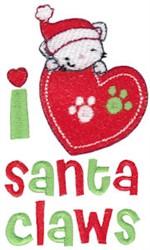 I Love Santa Claws embroidery design