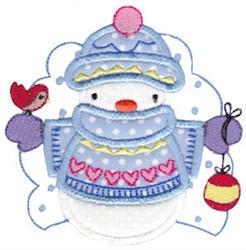Applique Snow Man embroidery design