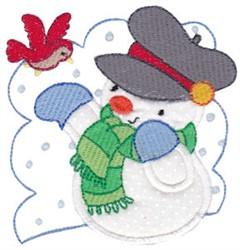 Bird Snowman Applique embroidery design