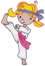 Karate Girl Kick embroidery design