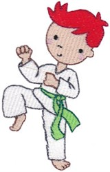 Karate Boy Kick embroidery design