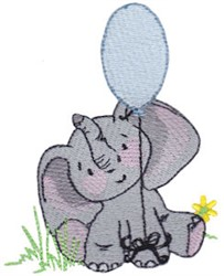 Elephant & Balloon embroidery design