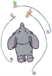 Elephant & Dragonflies embroidery design
