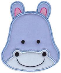 Hippo Face Applique embroidery design
