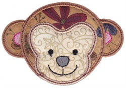 Monkey Face Applique embroidery design
