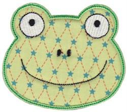 Frog Face Applique embroidery design