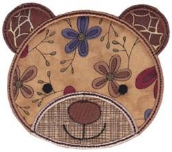 Bear Face Applique embroidery design