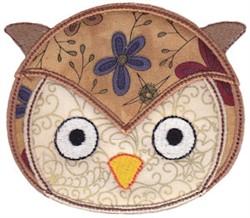 Owl Face Applique embroidery design