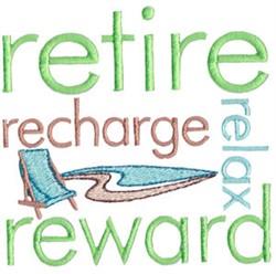 Retire Reward embroidery design