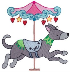 Carousel Dog embroidery design