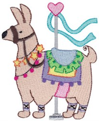 Carousel Llama embroidery design