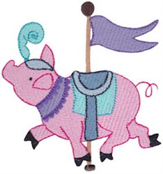Carousel Pig embroidery design