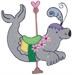 Carousel Seal embroidery design