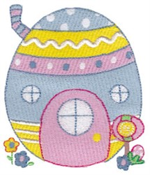 Easter Egg House embroidery design