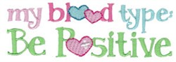 Be Positive embroidery design