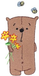 Daisy Bear And Bees embroidery design