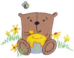 Daisy Bear Eating Honey embroidery design