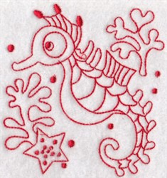 SeahorsesRedwork embroidery design