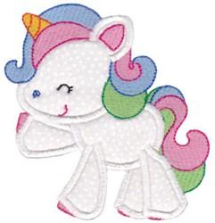 Happy Applique Unicorn embroidery design