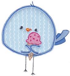 Applique Ice Cream Bird embroidery design