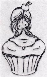 Cupcake Girl embroidery design