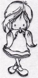 Redwork Girl embroidery design