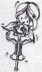 Pogo Stick Girl embroidery design