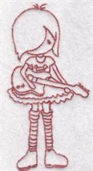 Guitar Girl embroidery design