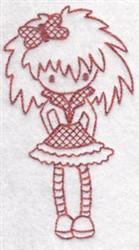 Redwork Teen Girl embroidery design