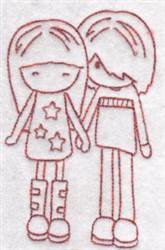 Redwork Girls embroidery design