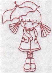 Redwork Umbrella Girl embroidery design