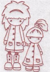Redwork Children embroidery design