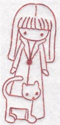 Girl & Cat embroidery design