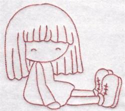 Redwork Sitting Girl embroidery design
